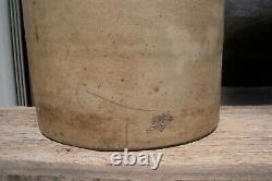 Antique 4 Gallon Blue Slip Salt Glaze Stoneware Butter Churn Crock