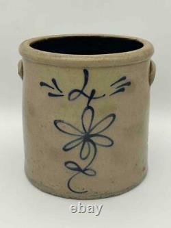Antique 4 Gallon Salt Glaze Stoneware Crock Cobalt Blue Daisy Flower Red Wing