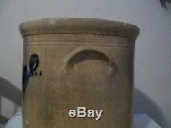Antique 4 Gallon Stoneware Crock Blue Cobalt Abstract Design