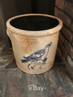 Antique 4 Gallon Stoneware Crock Gf Worthen Peabody Mass. Colbalt Blue Bird