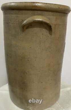 Antique 4 Gallon Straight Sided Rolled Rim Cobalt Decorated Stoneware Crock EUC
