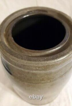 Antique 4 Stripe PA Wax Sealer Stoneware Blue Salt Glazed Canning Jar