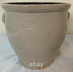 Antique 5 Gal. Stoneware Crock Cobalt Decorated Evan Jones Pittston, Pa. VF