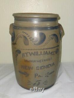 Antique 5 Gal. Stoneware Jar Cobalt Stencil F. T. Williams New Geneva, Pa
