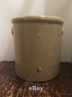 Antique 5 Gallon Crock Double Handle Double Cobalt Leaf Design Union Stoneware