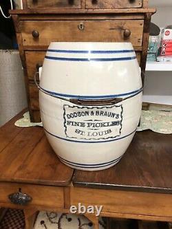 Antique 5 Gallon Dodson &Bros. Fine Pickles St. Louis Stoneware Crock
