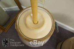 Antique 5 Gallon Eagle Stoneware Crock Primitve Earthenware Wood Dasher Churn