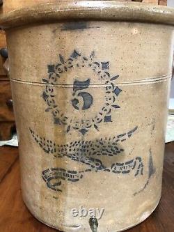Antique 5 Gallon Saltglazed Stoneware Crock- Patriotic Eagle With Banner