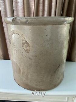 Antique 5 Gallon Stoneware Cobalt Blue Decorated Crock- Bird Motif -13 Tall