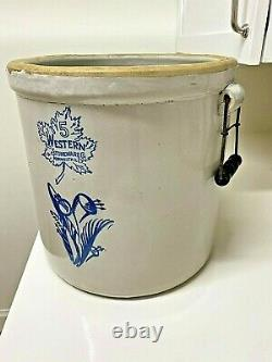 Antique 5 Gallon Western Stoneware Hand Painted Crock with Flowers and Handles