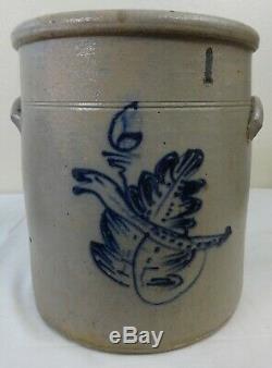 Antique 6 Gallon Stoneware Crock Rare Cobalt Worm in Leaf Decoration Western Pa