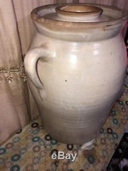 Antique 6 gallon Single elephant ear butter churn crock stoneware With Lid