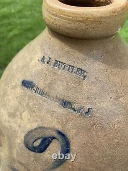 Antique A J Buttler New Brunswick NJ 2 Gallon Stoneware Pottery Jug