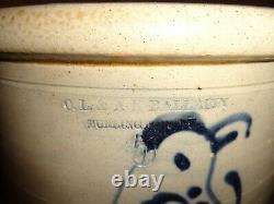Antique A. K. Ballard 5 Gal. Cobalt Blue Stoneware Crock, Long Tailed Bird, j1