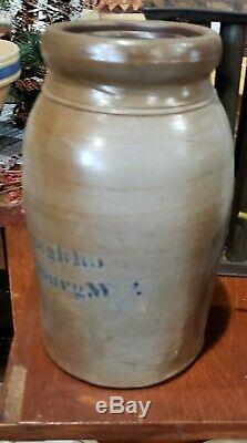 Antique A P Donaghho Parkersburg West Virginia Stoneware Crock Jar With Salt Glaze