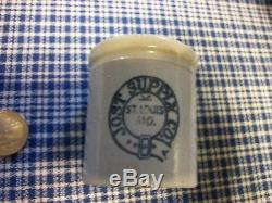 Antique Advertising Crock Jost Supply Co. St. Louis Miniature Salesman Sample