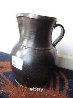 Antique Albany Brown Glaze Southern Pottery Pitcher Stoneware Crock Jug 9.5 H