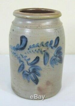 Antique American 1.5 Gallon Blue Decorated Stoneware Crock Large Flowers