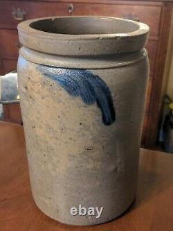 Antique American Crock Blue Decorated Salt Glaze Stoneware 19th Century
