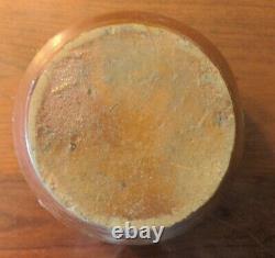 Antique American Salt Glaze Crock Early Ovoid Stoneware Reddish Color 19thC