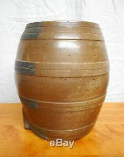 Antique American Stoneware Water Cooler Blue Decorated Incised Bands
