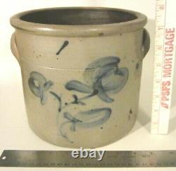 Antique Americana Salt Glazed Stoneware Cobalt Blue Flowers Crock Jar AS IS