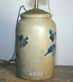 Antique BLUE DECORATED STONEWARE CROCK / Lamp