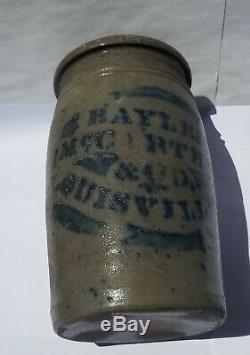 Antique Bayless McCarthey Louisville KY blue decorated stoneware Crock Cobalt