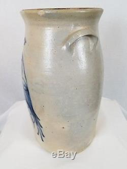 Antique Bird on a Branch Cobalt Blue Decorated Stoneware Pottery Jug, 6 Gallon