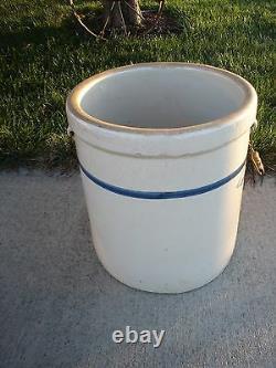 Antique Blue Band Stoneware 12 Crock Bail Handles No Chips Or Cracks Rare VGC