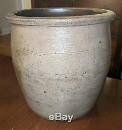 Antique Blue Decorated Crock American Salt Glaze Stoneware Pennsylvania 19th