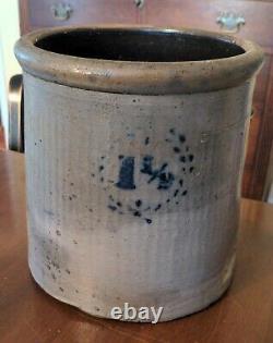 Antique Blue Decorated Crock American Stoneware Salt Glaze 1 1/2 Stencil