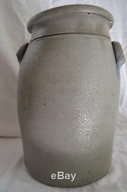 Antique Blue Decorated Hamilton & Jones Stoneware Crock/3 Gallon