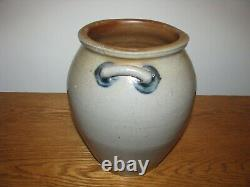 Antique Blue Decorated Ovoid Shaped Stoneware Script Crock / Dated 1841