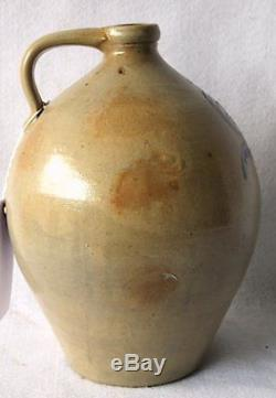Antique Blue Decorated Ovoid Stoneware Jug 19th cent