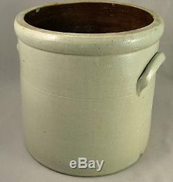 Antique Blue Decorated Paddletail Bird Stoneware Crock 19th cent