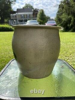 Antique Blue Decorated Salt Glazed Stoneware Crock Cream Pot 1 1/2 Gallon