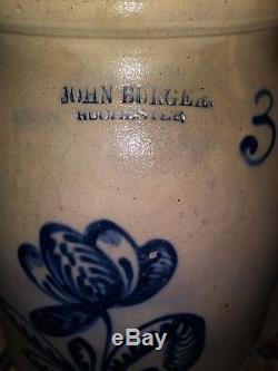 Antique Blue Decorated Stoneware 3 Gallon Jar John Burger Rochester, NY