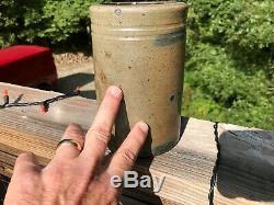 Antique Blue Decorated Stoneware 7'' Canner Jar Western PA W VA Crock Cobalt