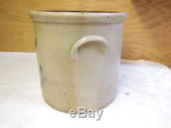Antique Blue Decorated Stoneware Crock