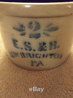 Antique Blue Decorated Stoneware Crock E. S. & B. New Brighton PA