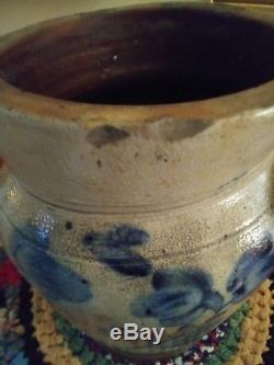 Antique Blue Decorated Stoneware Jar with Cobalt Floral Decoration