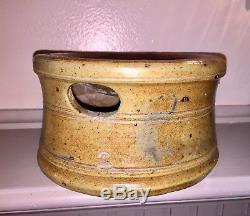Antique Blue Decorated Stoneware Spittoon Crock