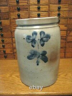 Antique Blue Decorated Stoneware Storage Crock / Herrmann, Baltimore