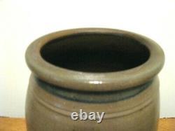 Antique Blue Decorated Stoneware Striped Crock / R. T. Williams New Geneva