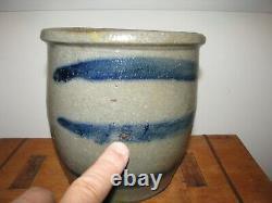 Antique Blue Decorated Western Pa Stoneware Striper Crock