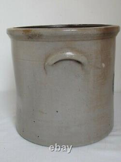 Antique Blue Slip Decorated Salt Glazed #4 Stoneware Crock 11 tall