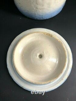 Antique Blue White Indian Stoneware Swastika Good Luck Butter Crock Jar with Lid