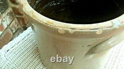 Antique Burger & Lang Rochester NY 1860s Stoneware Cobalt Blue Flower 2gal Crock