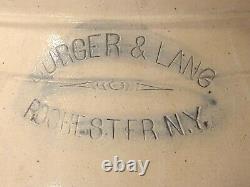 Antique Burger & Lang Rochester Ny 2 Gallon Blue Cobalt Floral Stoneware Crock